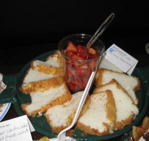 Angel Food cake, balsamic strawberries